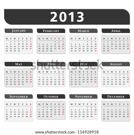 2013 Calendar vector eps10 illustration