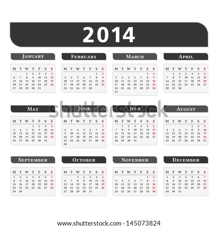 2014 Calendar vector eps10 illustration
