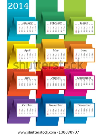 2014 calendar - vector illustration