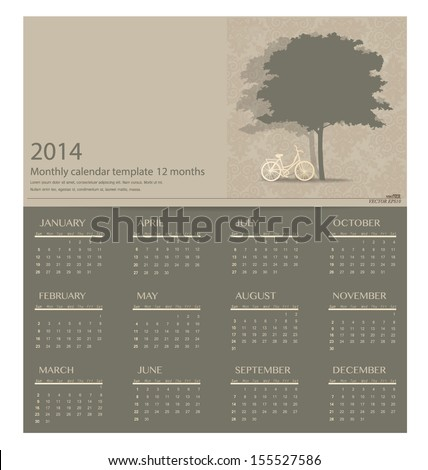 2014 calendar Vector illustration