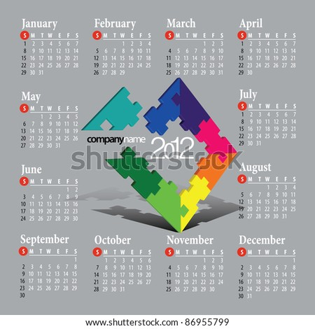 2012 Calendar. Vector illustration