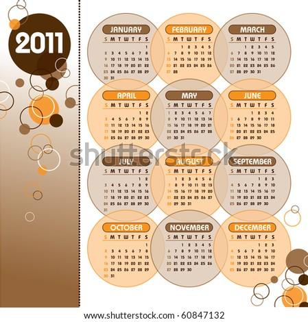 2011 Calendar. Vector Illustration. eps10.