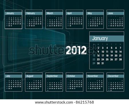 2012 Calendar. Vector Illustration in Eps10.