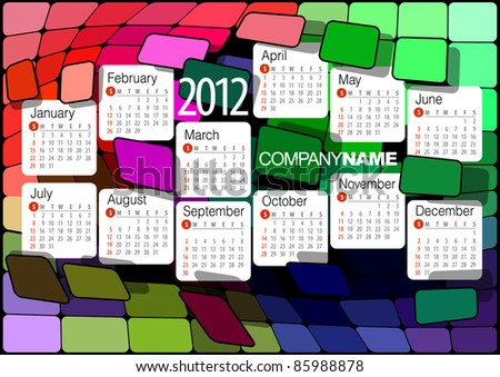 2012 Calendar. Vector illustration with abstract design