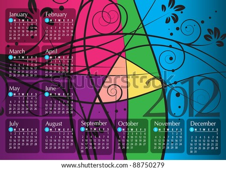 2012 Calendar. Vector illustration with floral elements