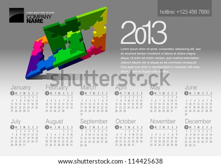 2013 Calendar. Vector Illustration with Puzzle vector element