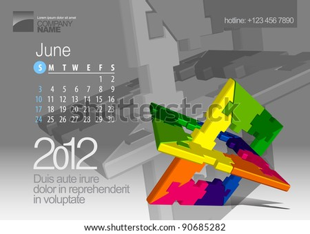 2012 Calendar. Vector Illustration with Puzzle vector element. In the gallery also available other months of the calendar