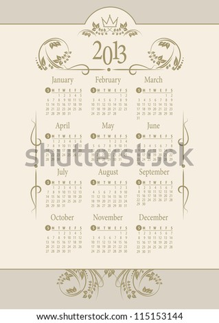 2013 Calendar. vintage background. Vector Illustration