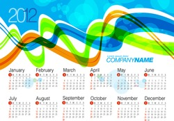 2012 Calendar. Wave Vector Illustration