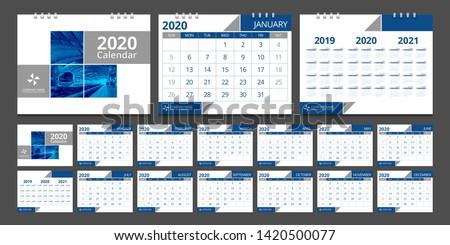 2020 calendar. Week start Sunday corporate design template vector.