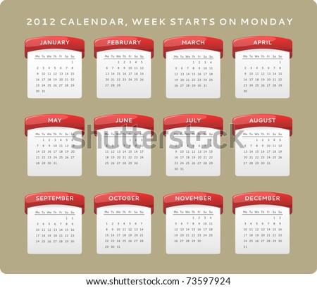 2012 calendar, week starts on Monday