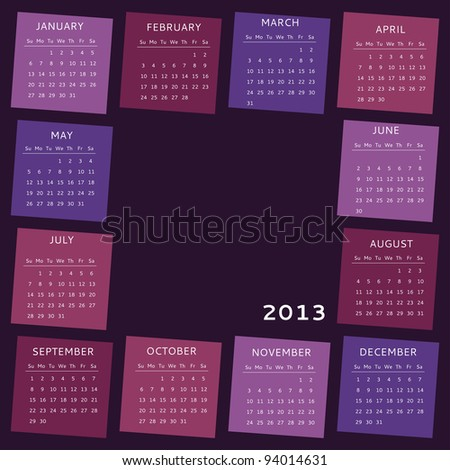 2013 calendar, week starts on Sunday