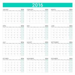 2016 calendar, weeks start from Monday