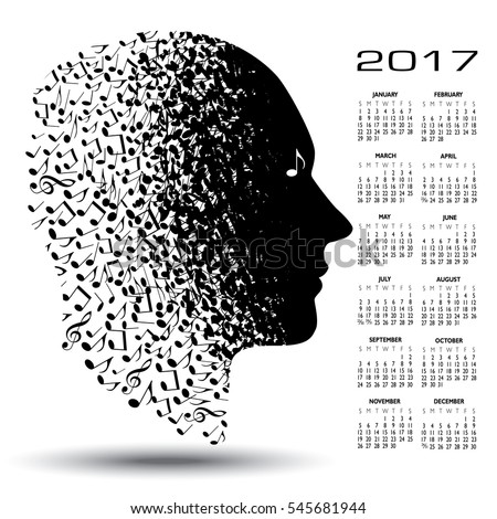 2017 calendar with a man made of musical notes