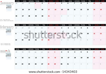 stock vector : 2009 calendar with American holidays. January, February