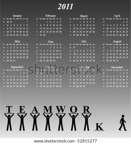 2011 calendar with an office teamwork theme