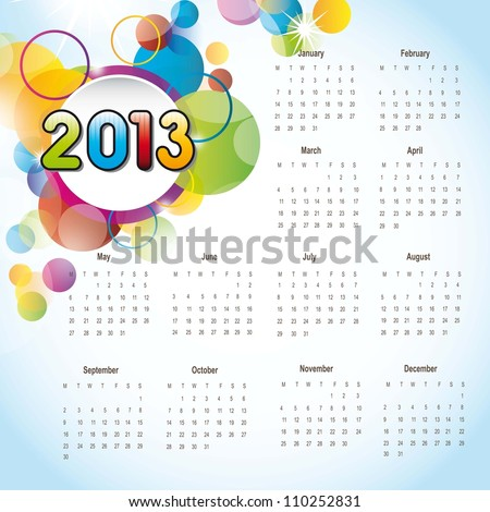 2013 calendar with colorful circles, background. vector illustration