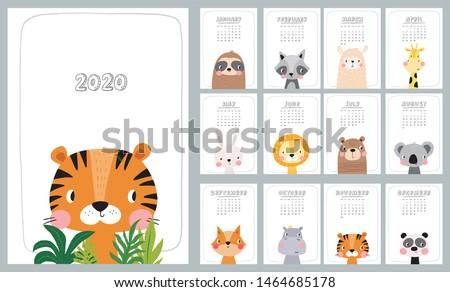 2020 calendar with cute hand