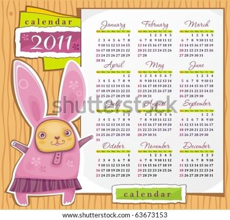 2011 calendar with cute rabbit. Symbol of 2011 year