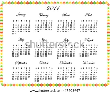 2011 Calendar with Decorative Border