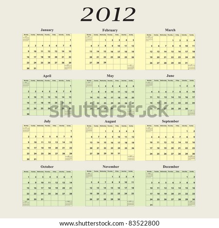 2012 Calendar with first day of week beginning on Monday