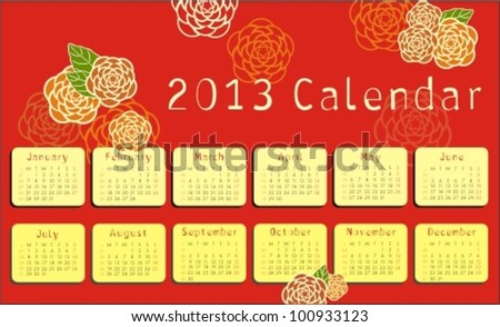 2013 calendar with floral ornaments