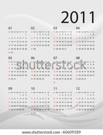 2011 calendar with grey abstract background