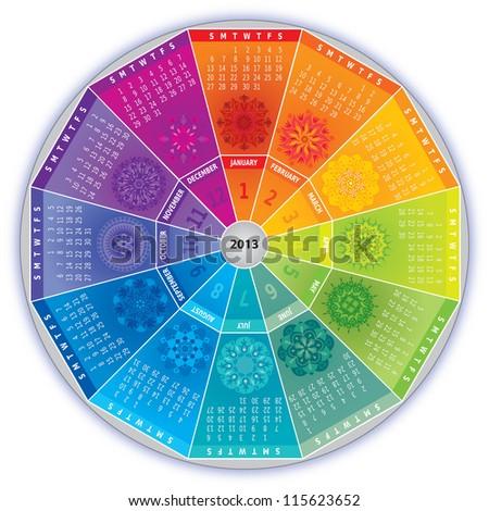2013 Calendar with Mandalas in Rainbow Colors