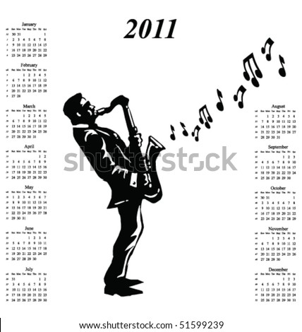 2011 calendar with musician playing the saxophone