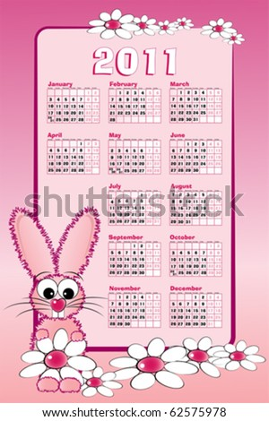 2011 calendar with pink bunny and white daisies