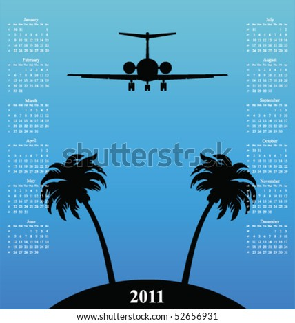 2011 calendar with plane flying