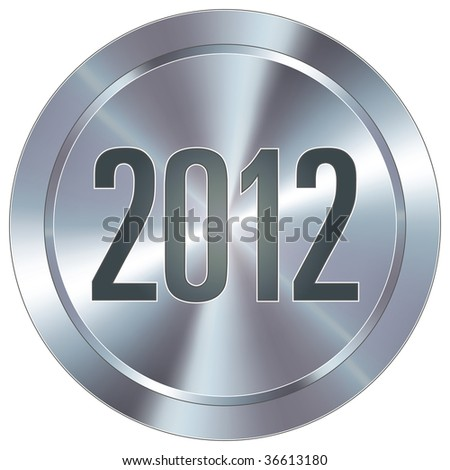 2012 calendar year icon on round stainless steel modern industrial button - stock vector