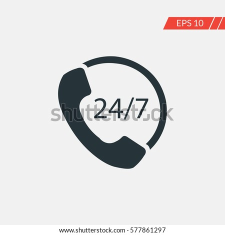 24/7 call center support vector icon
