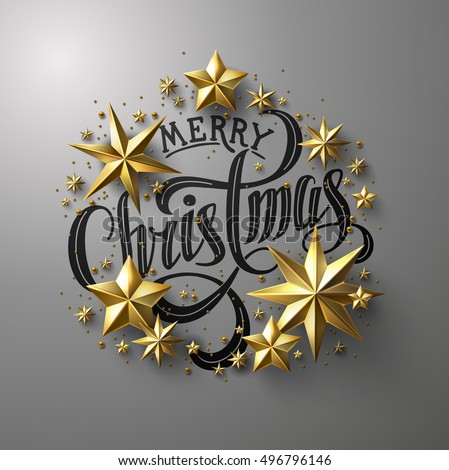 """Calligraphic """"Merry Christmas"""" Lettering Decorated with  Gold Stars. Christmas Greeting Card ."""