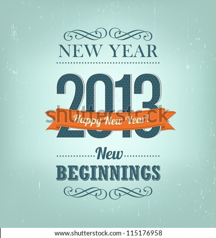 2013 - calligraphic new year greeting design