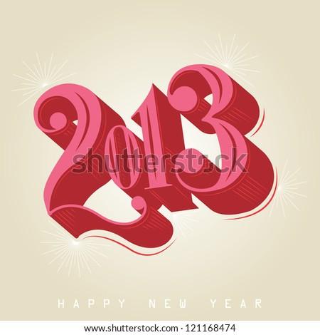 2013 - calligraphic new year greeting design