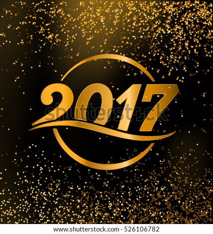 2017 - calligraphic new year greeting design - gold typography on dark background with golden glitter #526106782