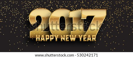 2017 - calligraphic new year social media page cover design - gold typography on dark background with gold glitter #530242171