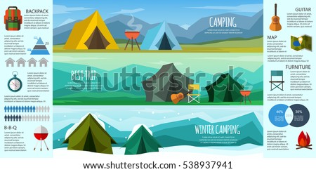 camping infographics a set of