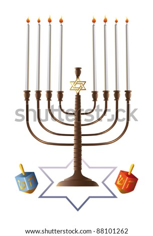 8 candles in Hanukkah menorah