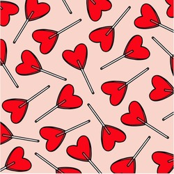 candy hearts pattern vector. vector pattern with lollipops. Wrapping textile fabric wallpaper  design.
