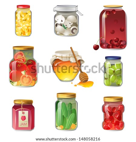 9 canned fruits and vegetables icons