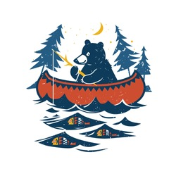 Canoe, bear with fishing rod, river or lake, fish, moon, starry sky and spruce forest. Colored vector illustration . Cartoon style.