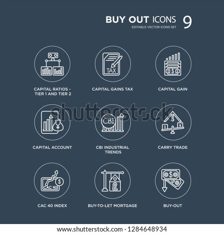 9 Capital ratios - Tier 1 and 2, gains tax, CAC 40 index, Carry trade, CBI industrial trends, gain modern icons on black background, vector illustration, eps10, trendy icon set.