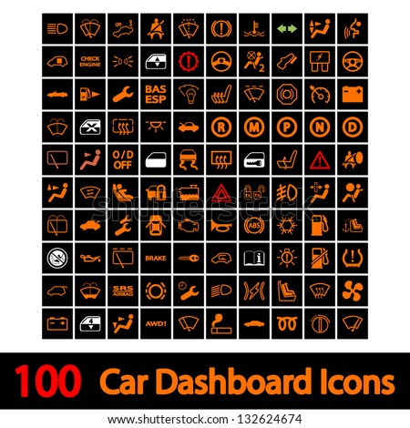 100 car dashboard icons vector