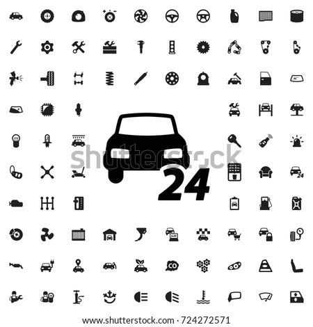 24 7 car service icon set of