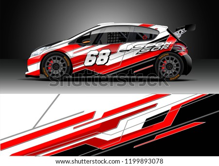 Car wrap design vector. Graphic abstract stripe racing background kit designs for wrap vehicle, race car, rally, adventure and livery.