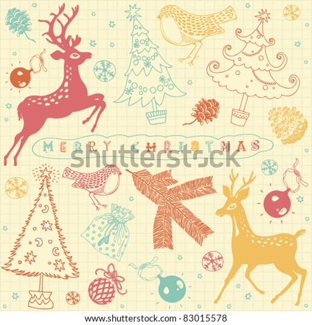 card with christmas deer