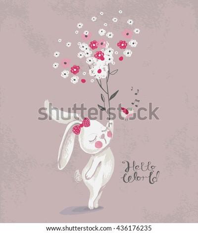 card with cute rabbit bunny