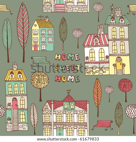 card with house and trees